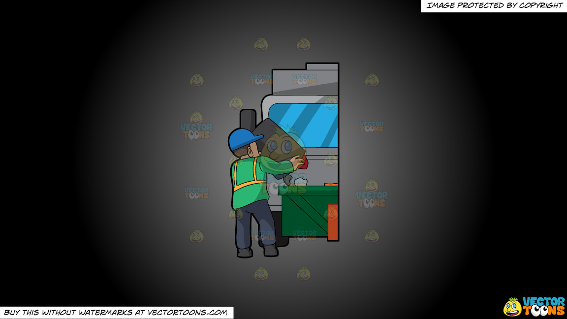 A Male Sanitation Worker Dumping Garbage In The Truck On A Grey And Black Gradient Background thumbnail