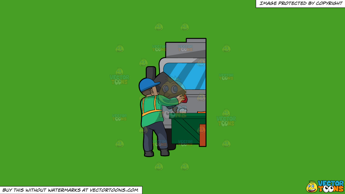A Male Sanitation Worker Dumping Garbage In The Truck On A Solid Kelly Green 47a025 Background thumbnail