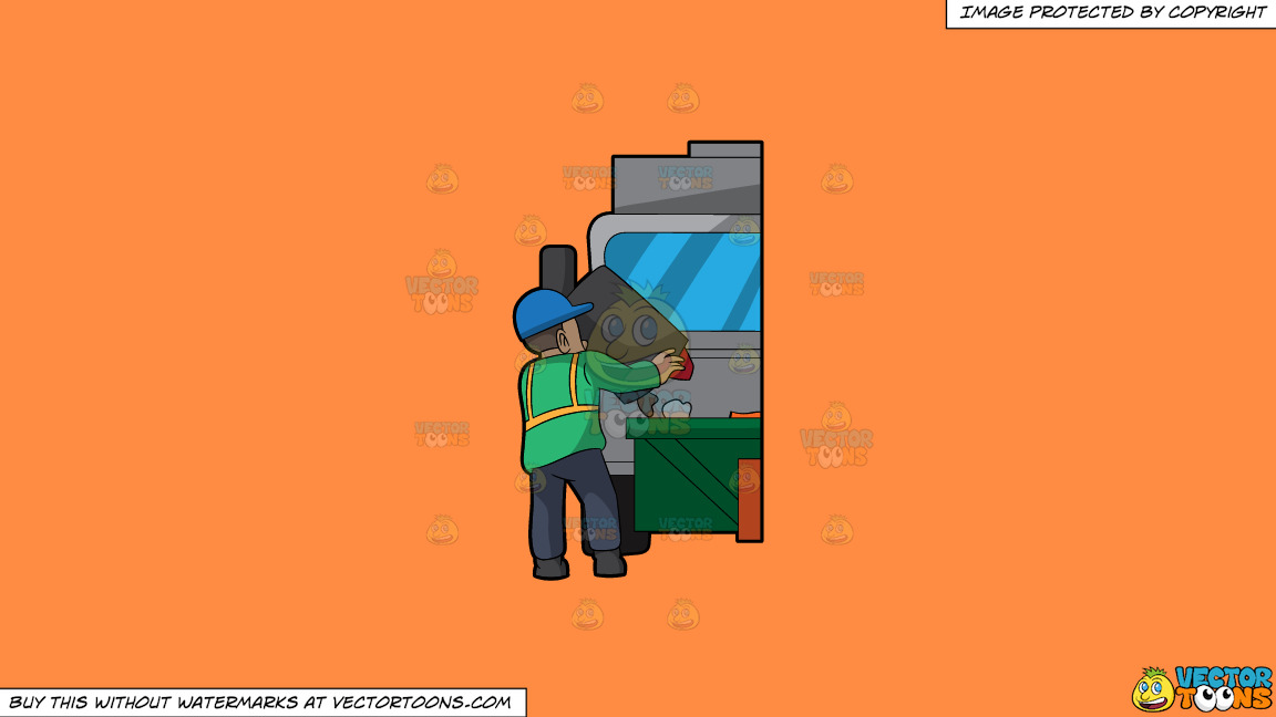 A Male Sanitation Worker Dumping Garbage In The Truck On A Solid Mango Orange Ff8c42 Background thumbnail