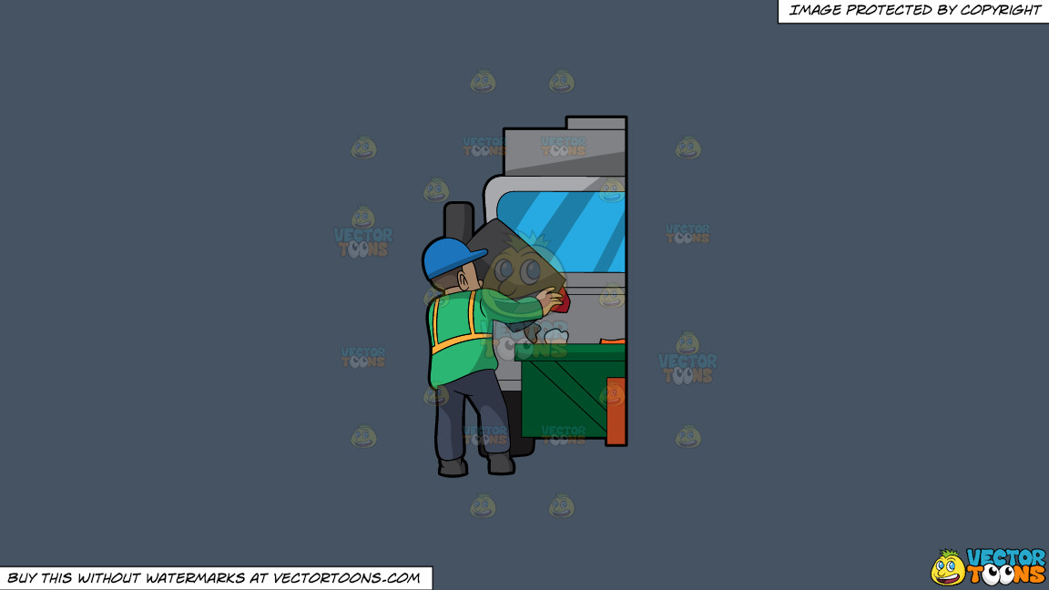 A Male Sanitation Worker Dumping Garbage In The Truck On A Solid Metal Grey 465362 Background thumbnail