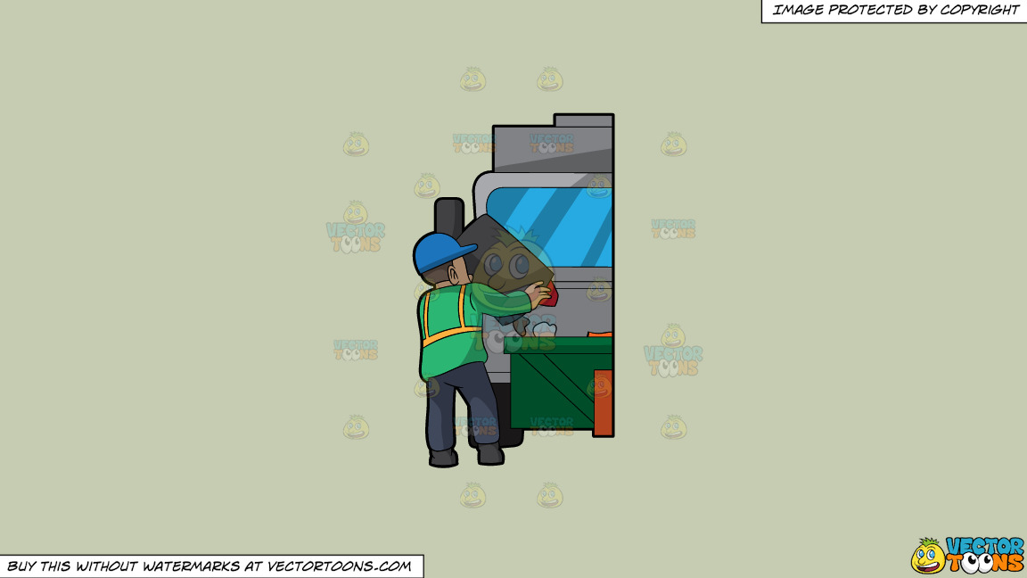 A Male Sanitation Worker Dumping Garbage In The Truck On A Solid Pale Silver C6ccb2 Background thumbnail