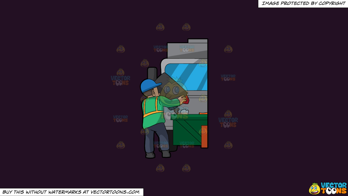 A Male Sanitation Worker Dumping Garbage In The Truck On A Solid Purple Rasin 241023 Background thumbnail