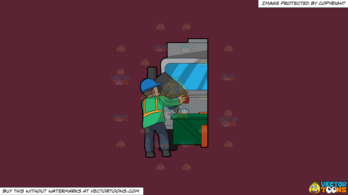 A Male Sanitation Worker Dumping Garbage In The Truck On A Solid Red Wine 5b2333 Background thumbnail