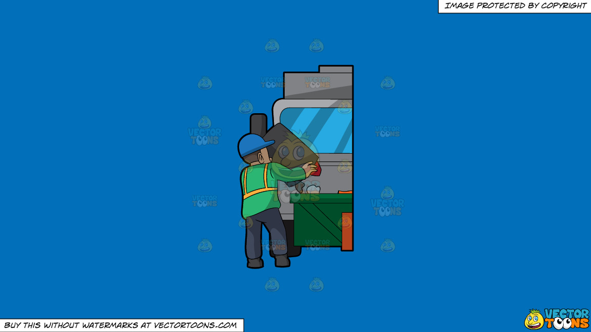 A Male Sanitation Worker Dumping Garbage In The Truck On A Solid Spanish Blue 016fb9 Background thumbnail