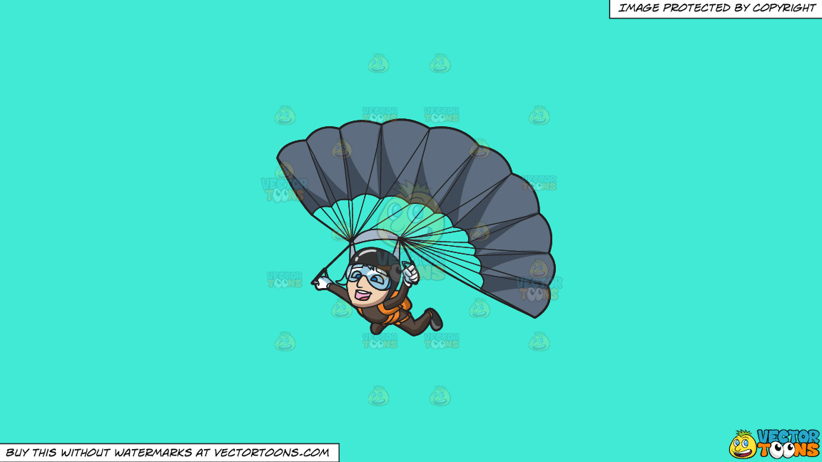 A Male Skydiver Gliding Down To The Ground With His Parachute Open On A Solid Turquiose 41ead4 Background thumbnail
