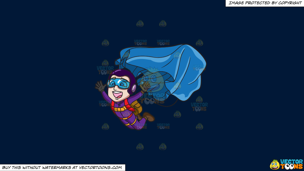 A Male Skydiver Opening His Parachute On A Solid Dark Blue 011936 Background thumbnail