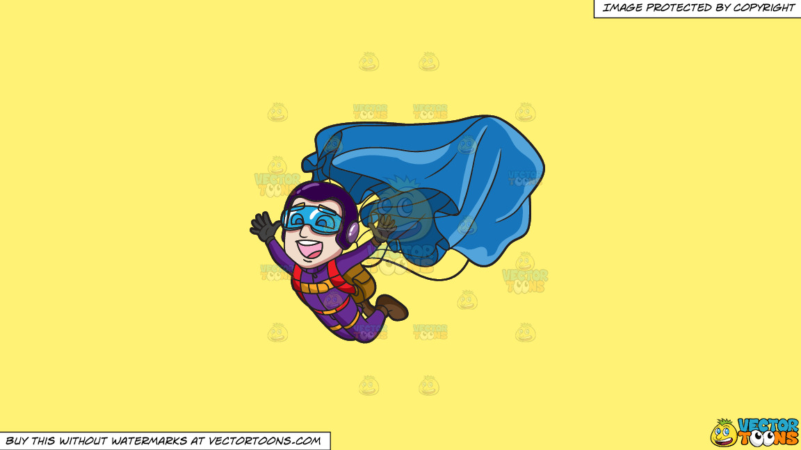 A Male Skydiver Opening His Parachute On A Solid Sunny Yellow Fff275 Background thumbnail