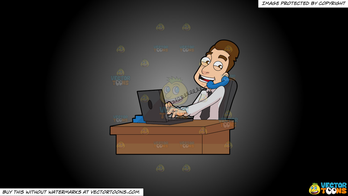 A Male Stockbroker Speaks To A Client While At Work On A Grey And Black Gradient Background thumbnail