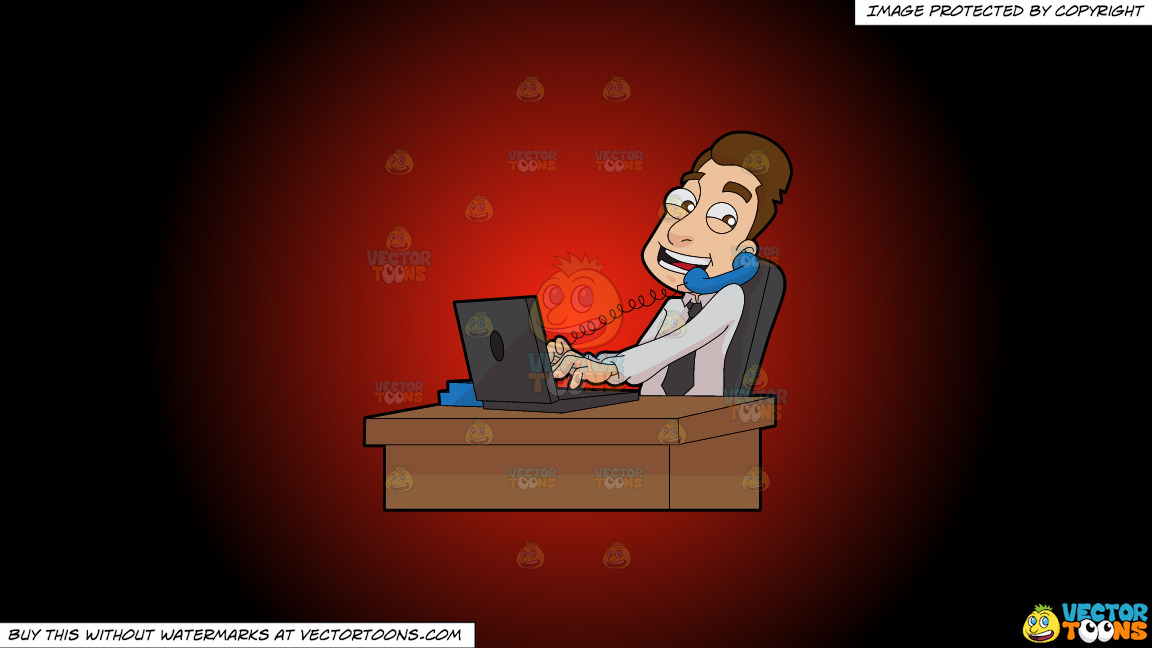 A Male Stockbroker Speaks To A Client While At Work On A Red And Black Gradient Background thumbnail