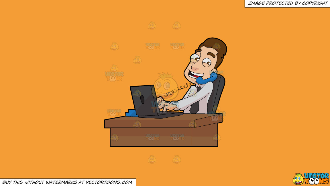 A Male Stockbroker Speaks To A Client While At Work On A Solid Deep Saffron Gold F49d37 Background thumbnail