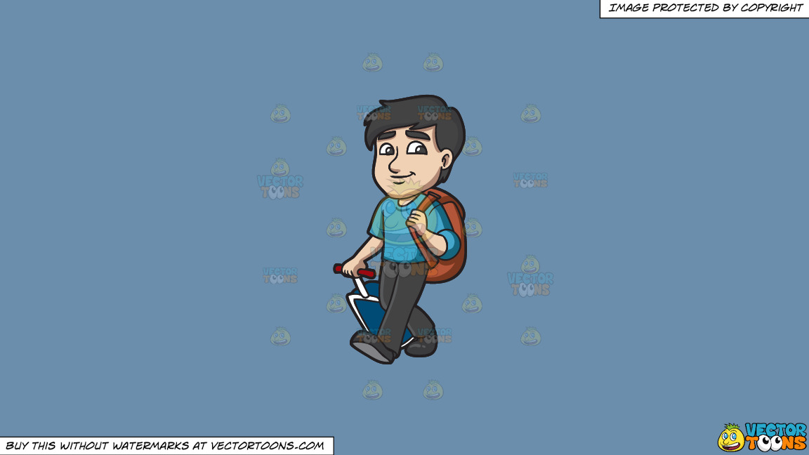 A Male Traveler On A Solid Shadow Blue 6c8ead Background thumbnail