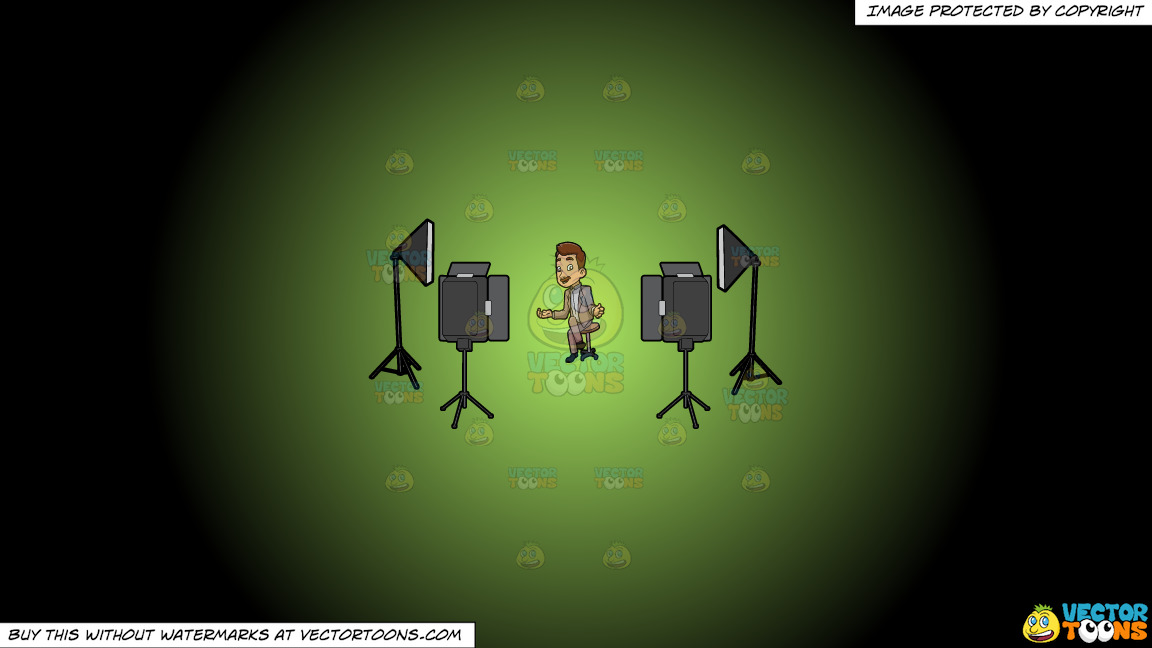 A Male Veteran Host Filming An Episode Of His Show On A Green And Black Gradient Background thumbnail
