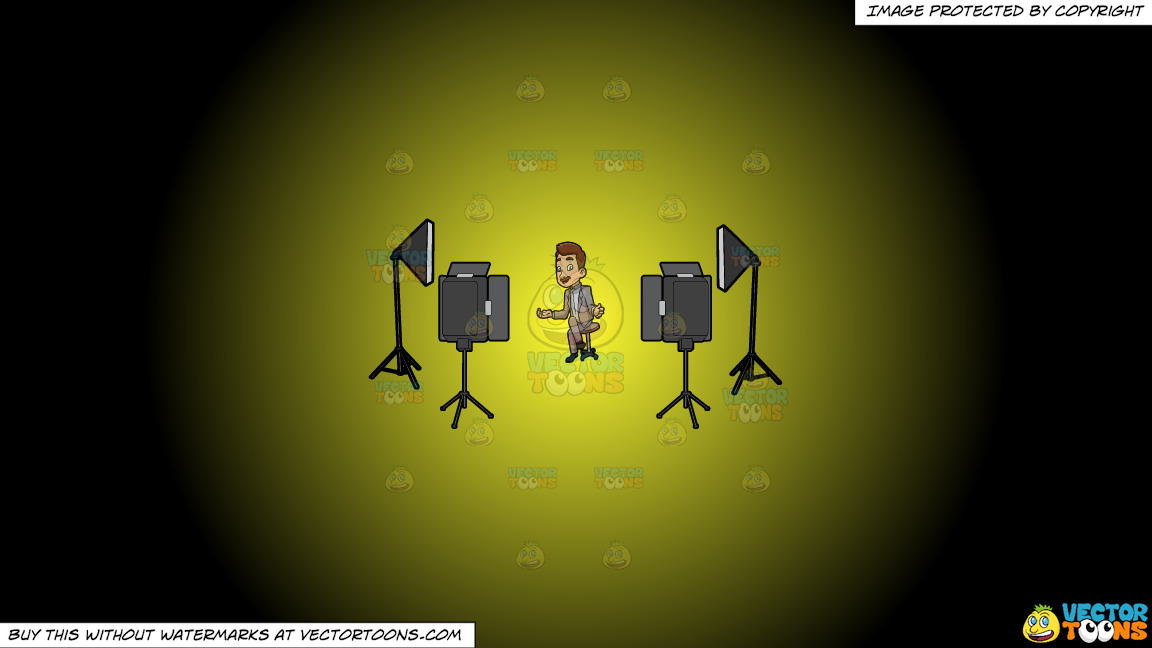 A Male Veteran Host Filming An Episode Of His Show On A Yellow And Black Gradient Background thumbnail