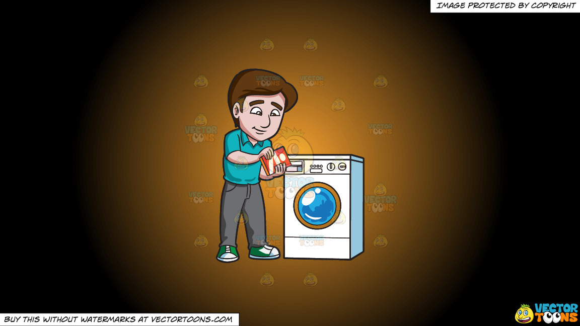 A Man Adding Some Detergent Powder Into The Washing Machine Soap Inlet On A Orange And Black Gradient Background thumbnail