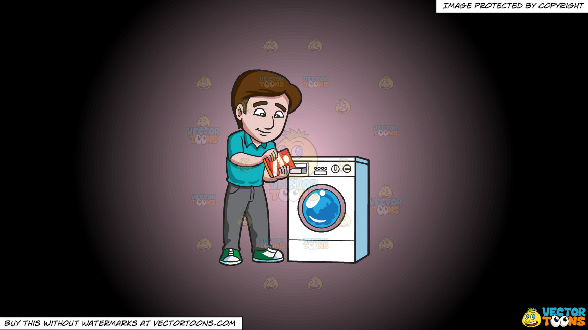 A Man Adding Some Detergent Powder Into The Washing Machine Soap Inlet On A Pink And Black Gradient Background thumbnail