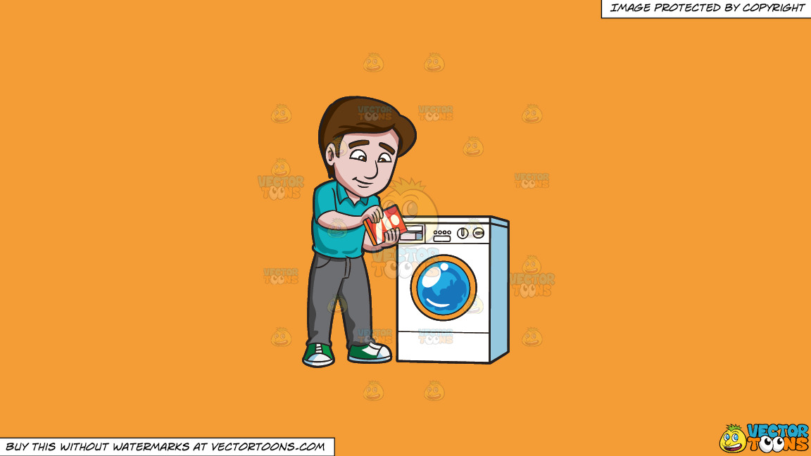 A Man Adding Some Detergent Powder Into The Washing Machine Soap Inlet On A Solid Deep Saffron Gold F49d37 Background thumbnail