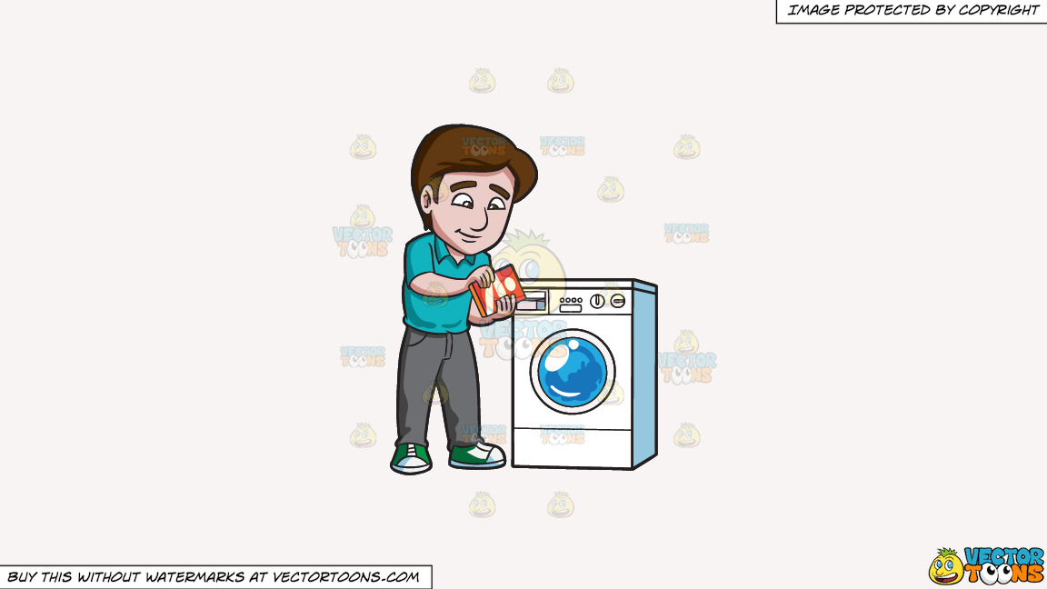 A Man Adding Some Detergent Powder Into The Washing Machine Soap Inlet On A Solid White Smoke F7f4f3 Background thumbnail