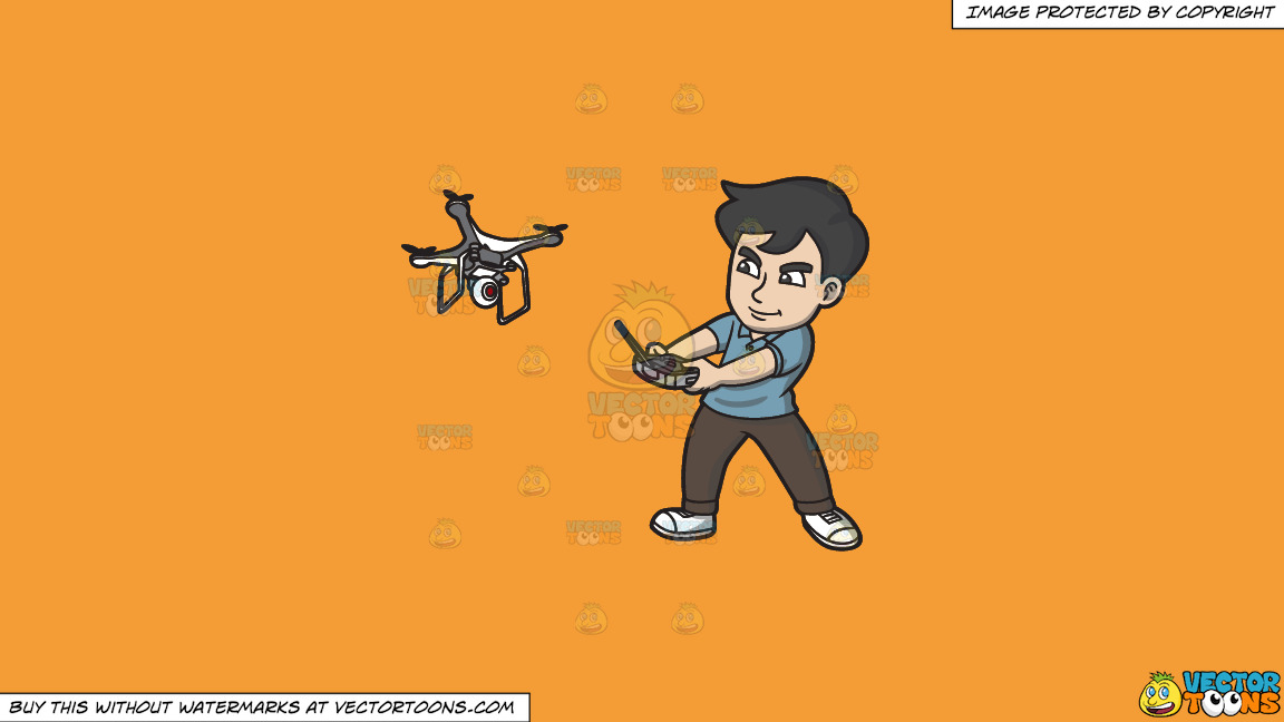 A Man Aggressively Controlling His Drone With A Remote Control On A Solid Deep Saffron Gold F49d37 Background thumbnail