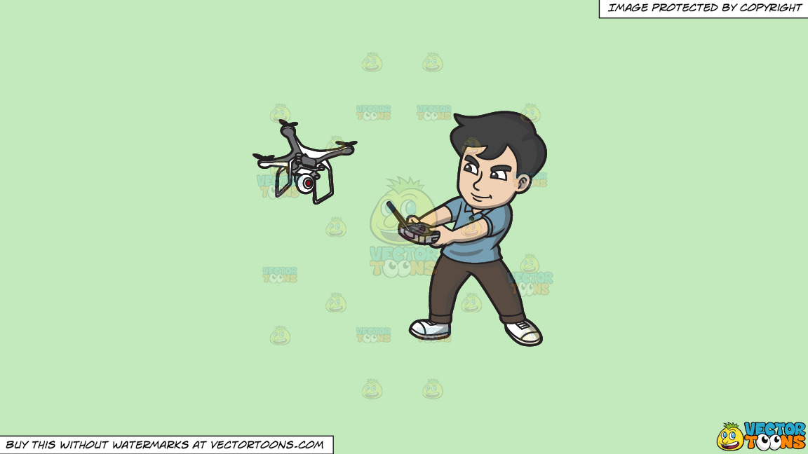 A Man Aggressively Controlling His Drone With A Remote Control On A Solid Tea Green C2eabd Background thumbnail