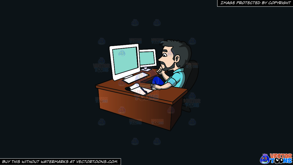A Man Analyzing The Data On His Computer Screens On A Solid Off Black 0f1a20 Background thumbnail