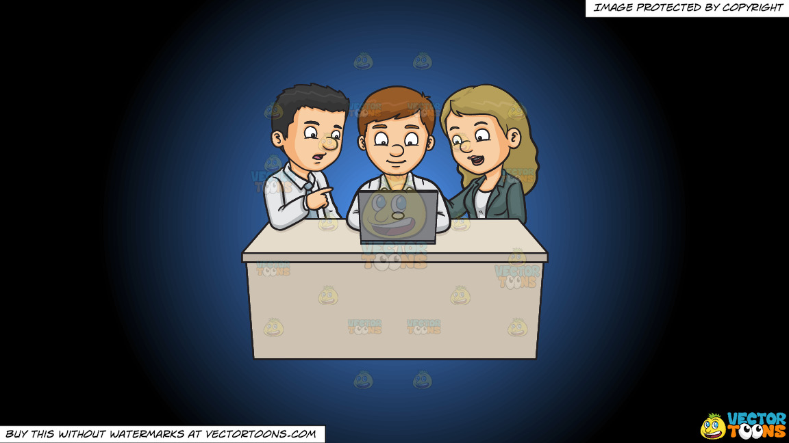 A Man And Woman Assisting A Fellow Worker On His Report On A Blue And Black Gradient Background thumbnail