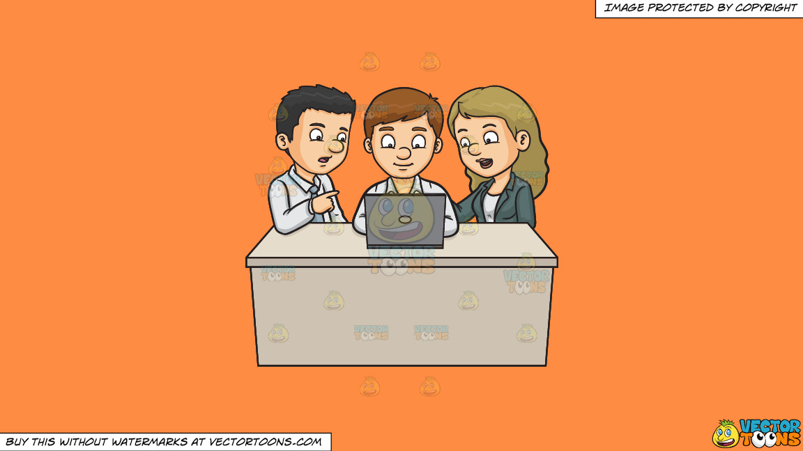 A Man And Woman Assisting A Fellow Worker On His Report On A Solid Mango Orange Ff8c42 Background thumbnail