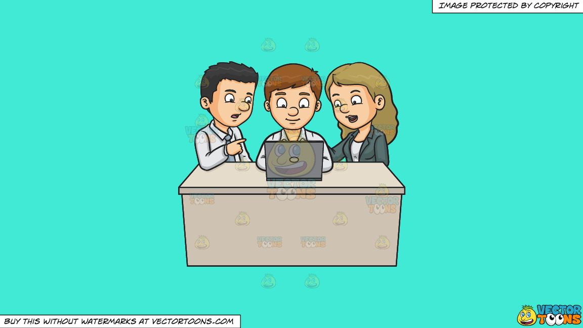 A Man And Woman Assisting A Fellow Worker On His Report On A Solid Turquiose 41ead4 Background thumbnail