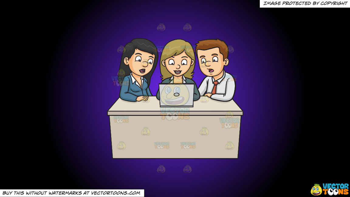 A Man And Woman Assisting A Fellow Worker On Their Group Report On A Purple And Black Gradient Background thumbnail