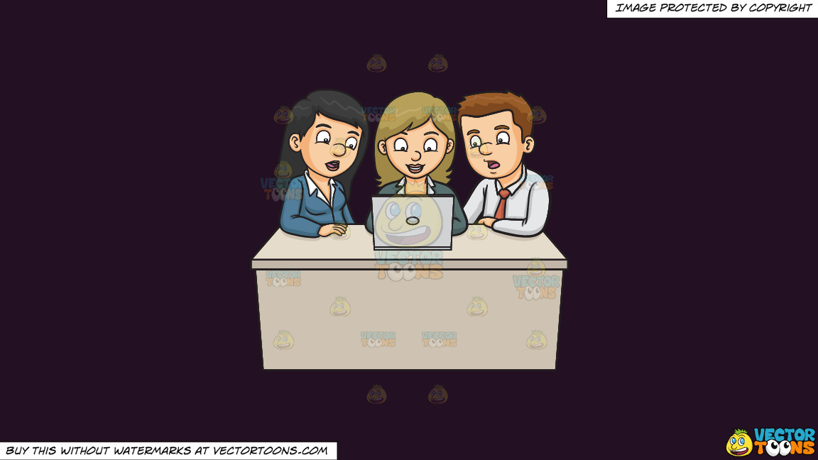 A Man And Woman Assisting A Fellow Worker On Their Group Report On A Solid Purple Rasin 241023 Background thumbnail