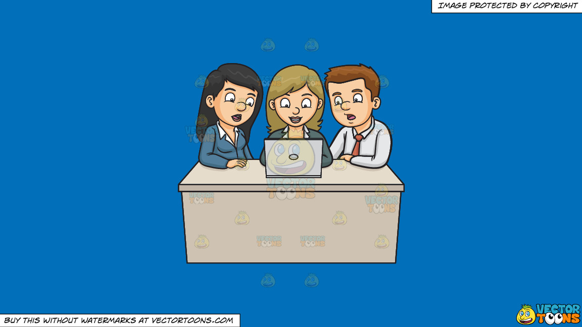 A Man And Woman Assisting A Fellow Worker On Their Group Report On A Solid Spanish Blue 016fb9 Background thumbnail