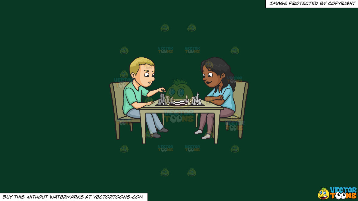 A Man And Woman Playing Chess On A Solid Dark Green 093824 Background thumbnail
