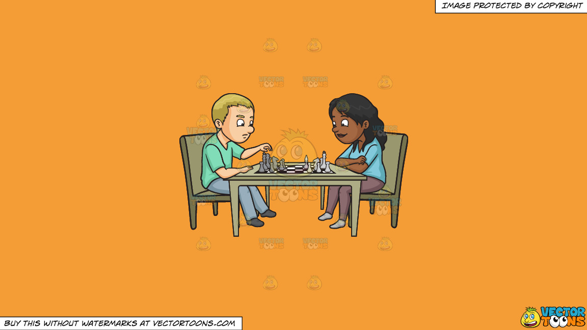 A Man And Woman Playing Chess On A Solid Deep Saffron Gold F49d37 Background thumbnail