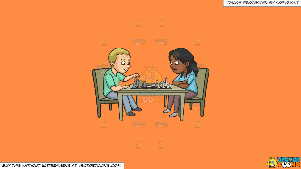 A Man And Woman Playing Chess On A Solid Mango Orange Ff8c42 Background thumbnail