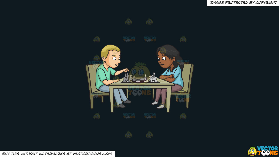 A Man And Woman Playing Chess On A Solid Off Black 0f1a20 Background thumbnail