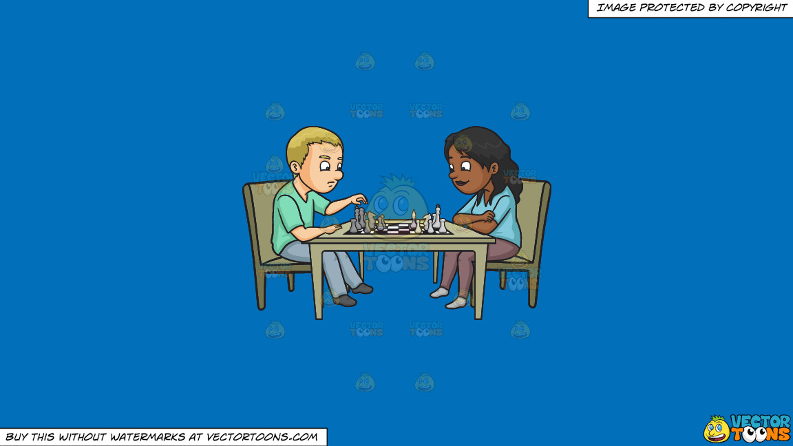 A Man And Woman Playing Chess On A Solid Spanish Blue 016fb9 Background thumbnail