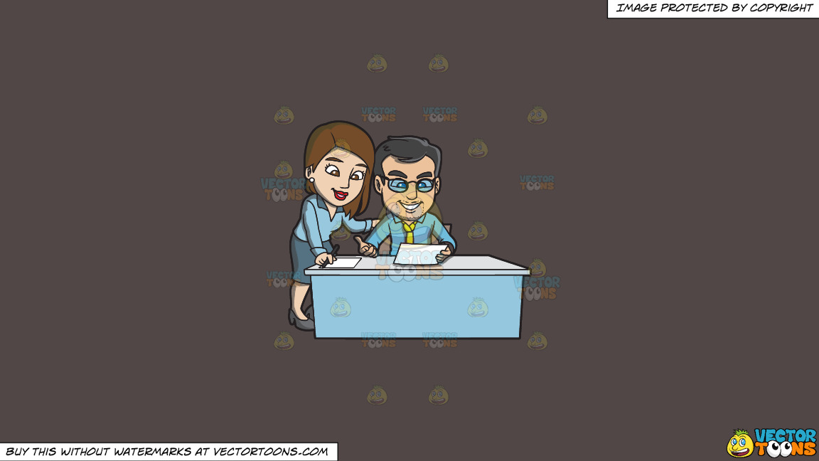 A Man And Woman Reviewing An Office Paper Together On A Solid Quartz 504746 Background thumbnail