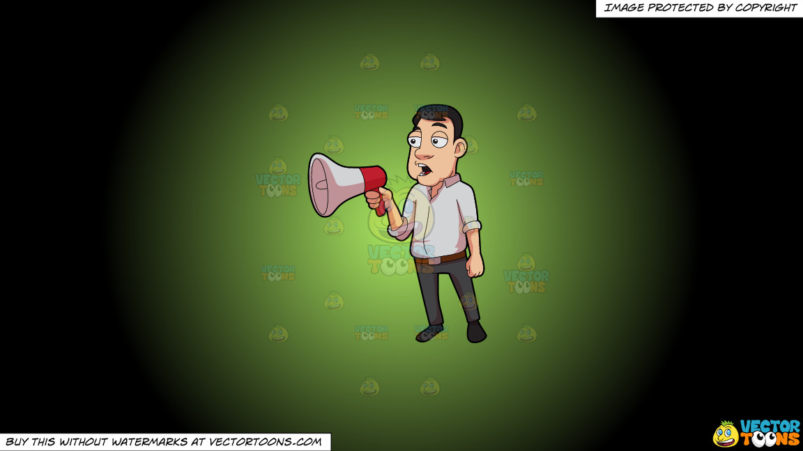 A Man Announces A Reminder Over The Megaphone On A Green And Black Gradient Background thumbnail