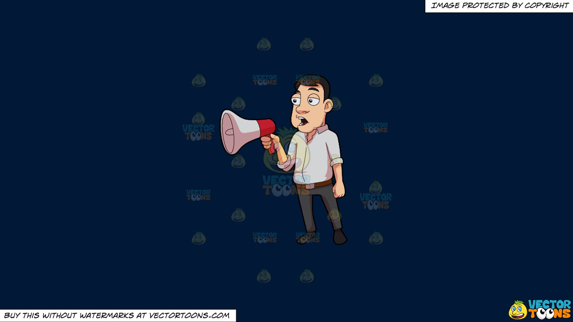 A Man Announces A Reminder Over The Megaphone On A Solid Dark Blue 011936 Background thumbnail