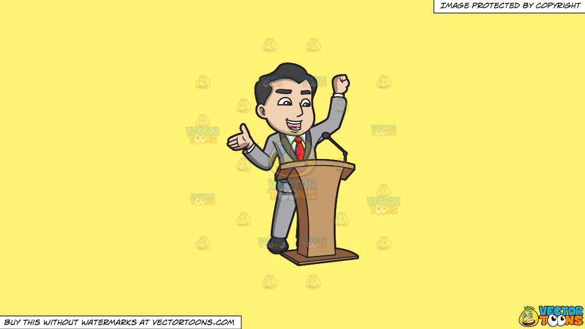 A Man Announcing Something Exciting During The Conference On A Solid Sunny Yellow Fff275 Background thumbnail