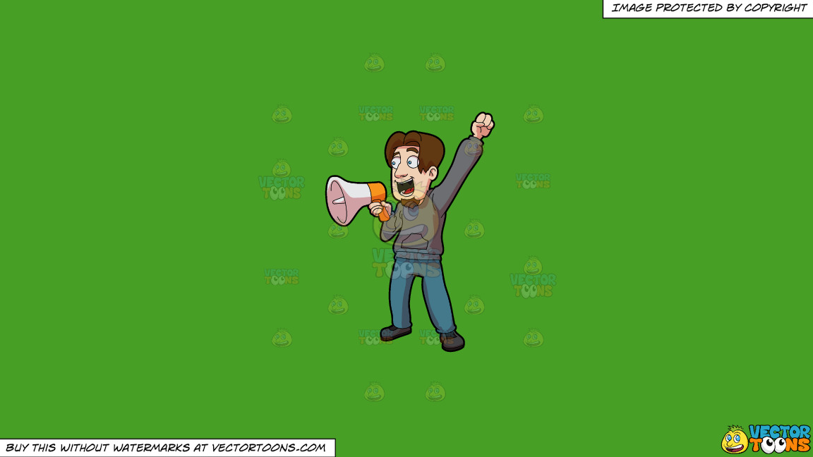 A Man Announcing Victory Over The Megaphone On A Solid Kelly Green 47a025 Background thumbnail