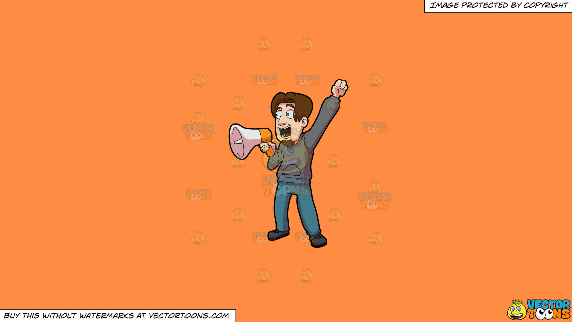 A Man Announcing Victory Over The Megaphone On A Solid Mango Orange Ff8c42 Background thumbnail