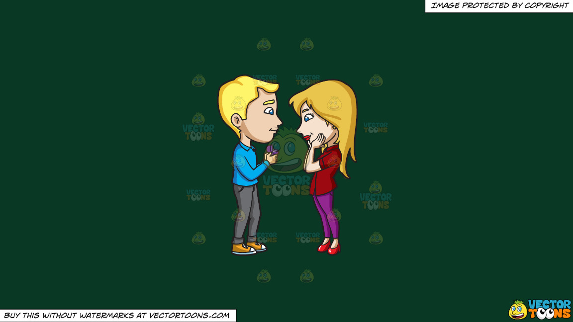 A Man Asking His Lovely Girlfriend To Marry Him On A Solid Dark Green 093824 Background thumbnail
