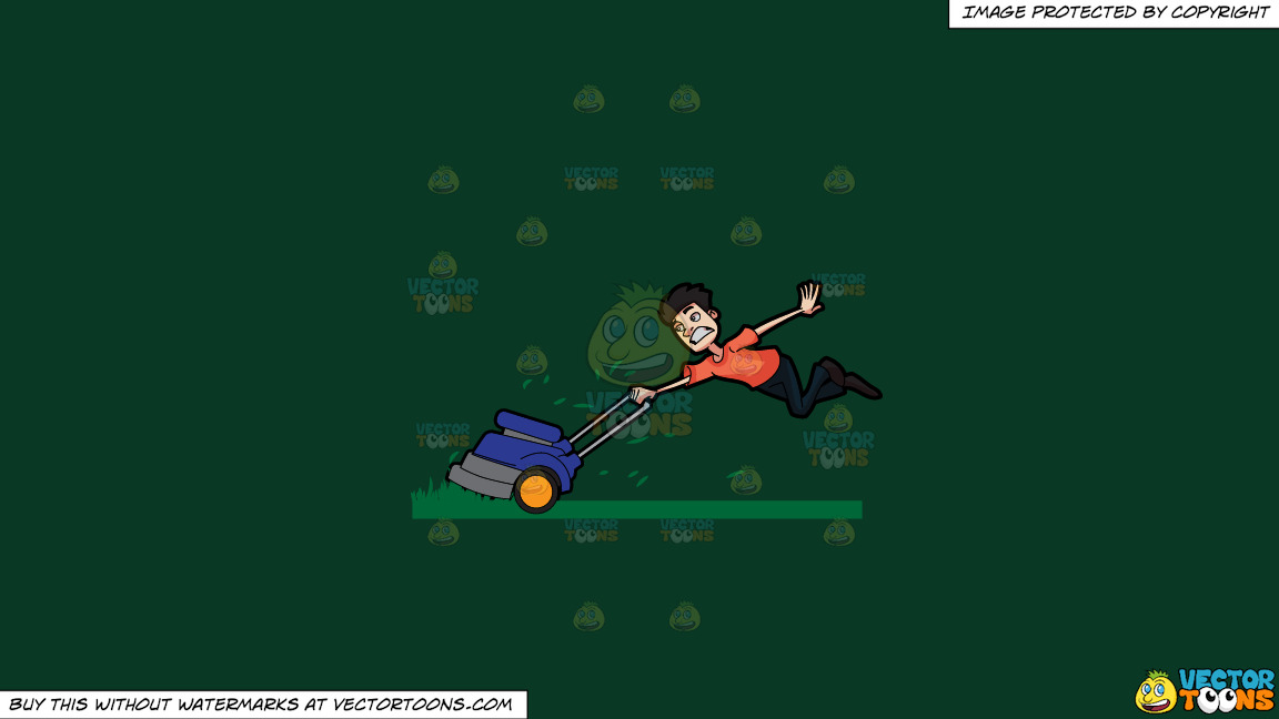 A Man Being Carried Away By A Lawnmower On A Solid Dark Green 093824 Background thumbnail