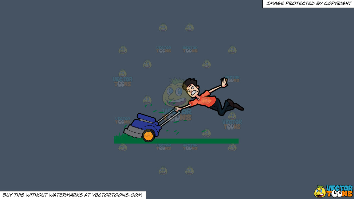 A Man Being Carried Away By A Lawnmower On A Solid Metal Grey 465362 Background thumbnail