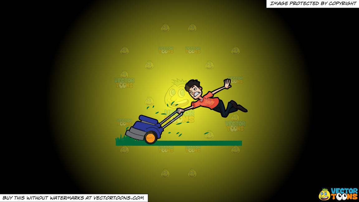 A Man Being Carried Away By A Lawnmower On A Yellow And Black Gradient Background thumbnail