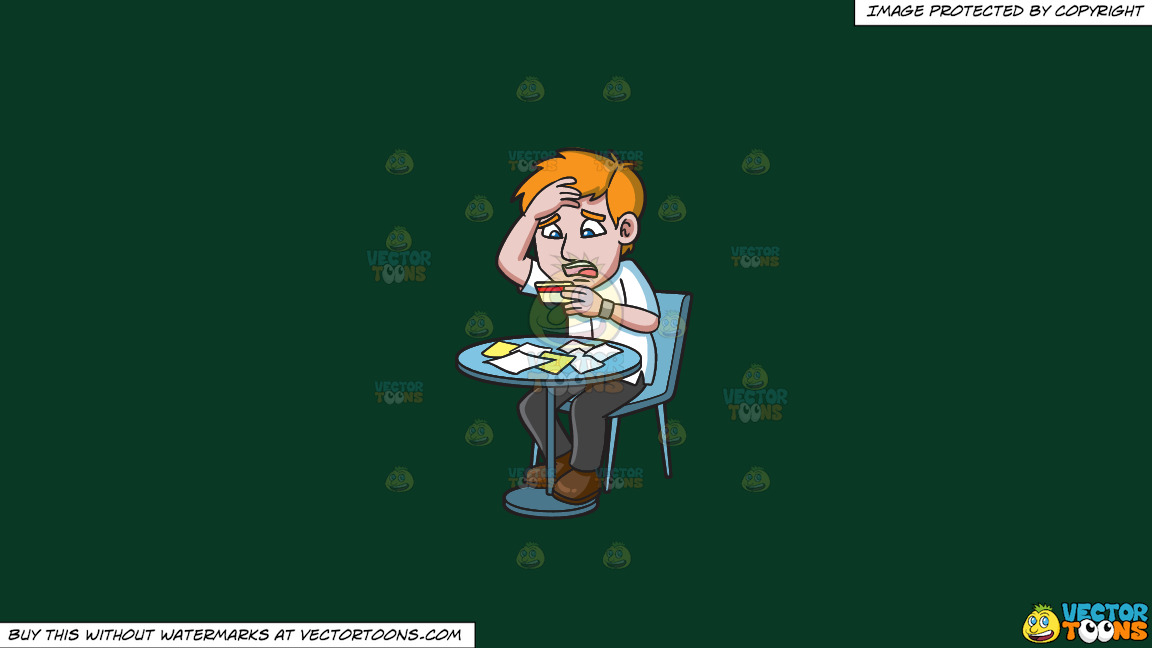 A Man Being Stressed With His Credit Card On A Solid Dark Green 093824 Background thumbnail