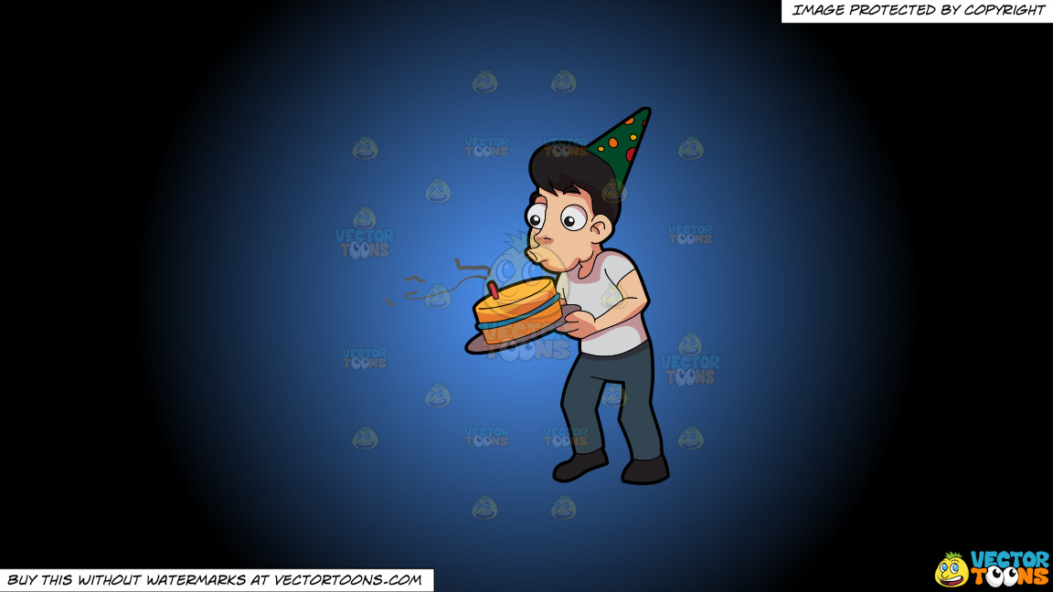 A Man Blowing The Candle In His Birthday Cake On A Blue And Black Gradient Background thumbnail