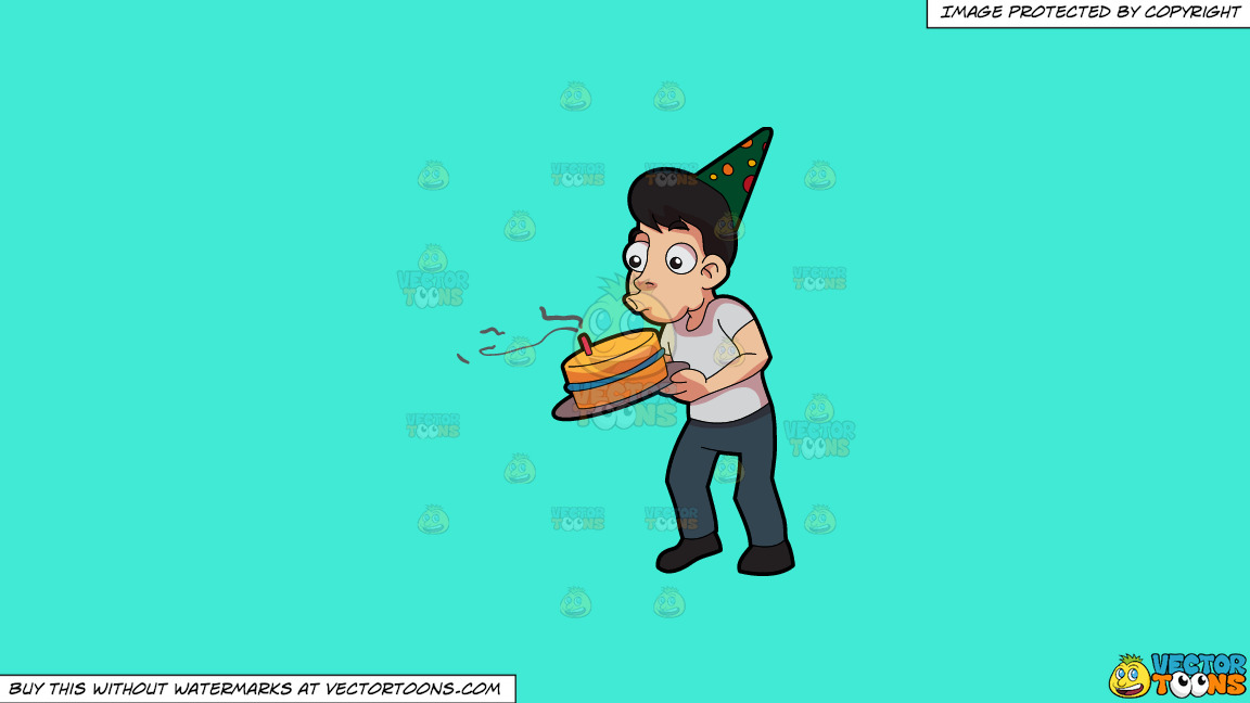 A Man Blowing The Candle In His Birthday Cake On A Solid Turquiose 41ead4 Background thumbnail