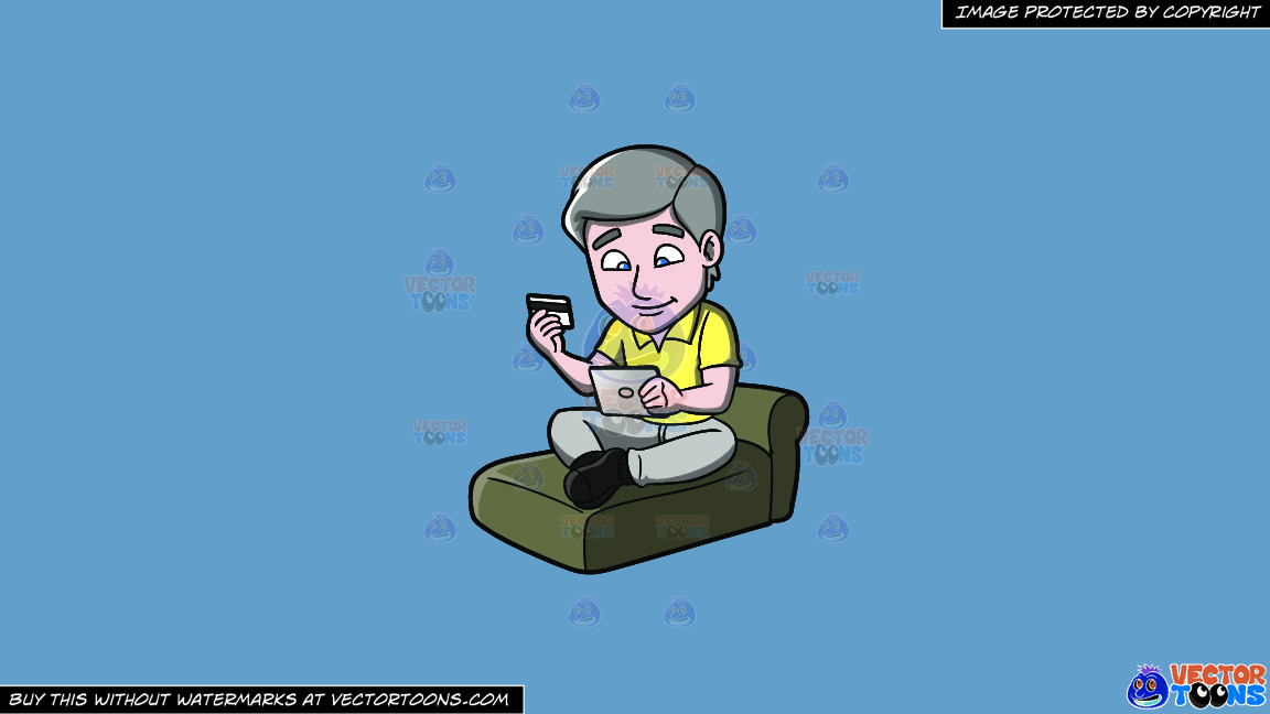 A Man Buying Something Online Using His Ipad On A Solid Shadow Blue 6c8ead Background thumbnail