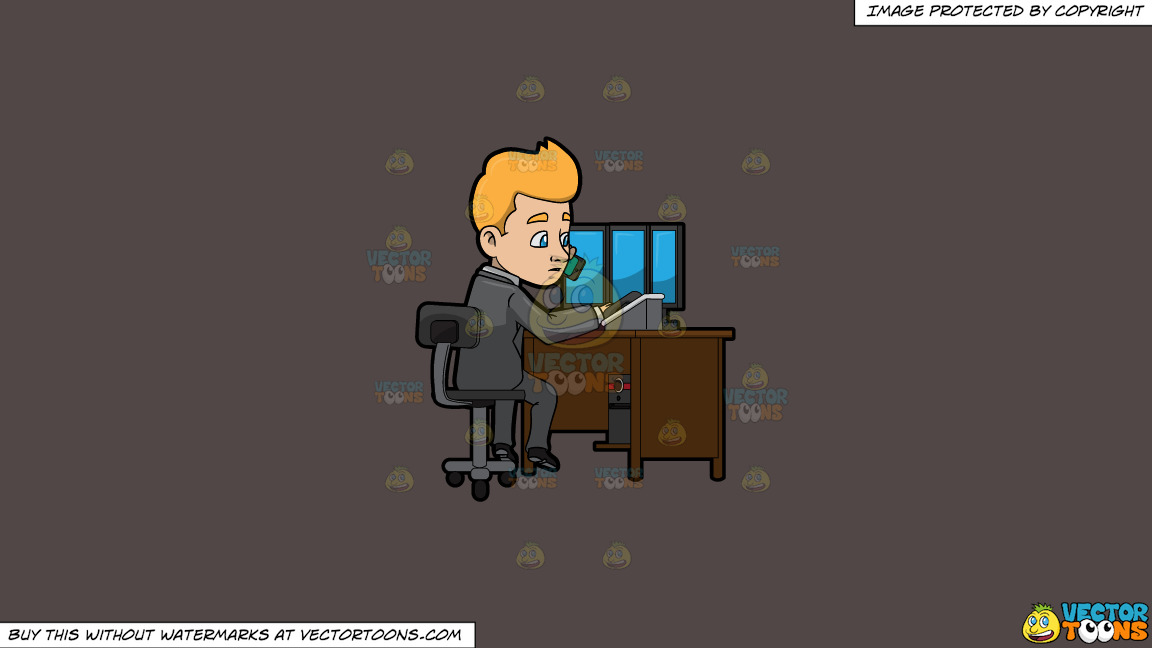 A Man Calling A Client While At His Desk On A Solid Quartz 504746 Background thumbnail